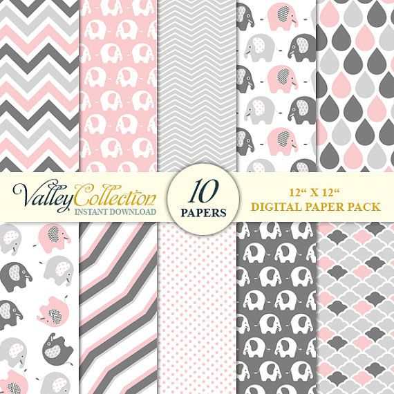 "10 Digital Papers, Elephant Digital Scrapbook Paper Pack (12x12""), pink and gray - INSTANT DOWNLOAD -  Ellisha Pack DP205E"