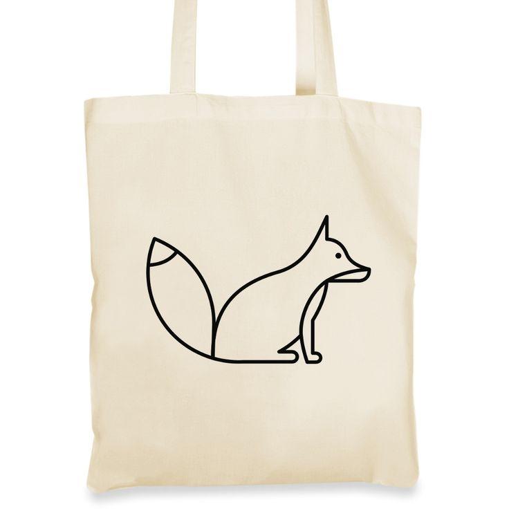 Plátěná taška s liškou hledící do dálek