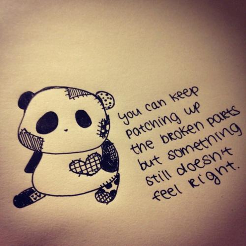 Sad Boy Alone Quotes: Sad Panda All Patched Up.