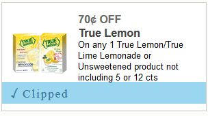 70¢ OFF On any One True Lemon/True Lime Lemonade or Unsweetened product