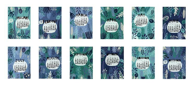 Calendar floral abstract paper cut blue 2018