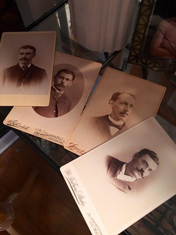 4 handsome Antique Men's photos sporting hipster facial