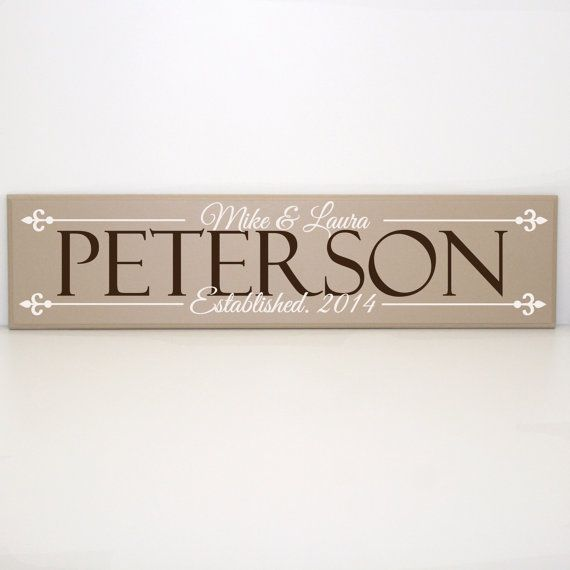 Classic Last Name Established Wood Sign with First Names - Personalized Wedding Gift, Family Gift, Moving Away Present, Custom Welcome Sign