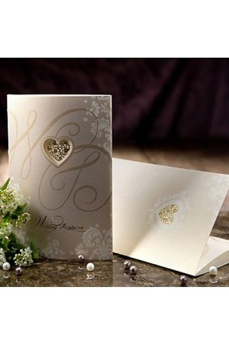 Vintage Style Tri-fold Wedding Invitation With Heart Cutout (50/Set) | LynnBridal.com
