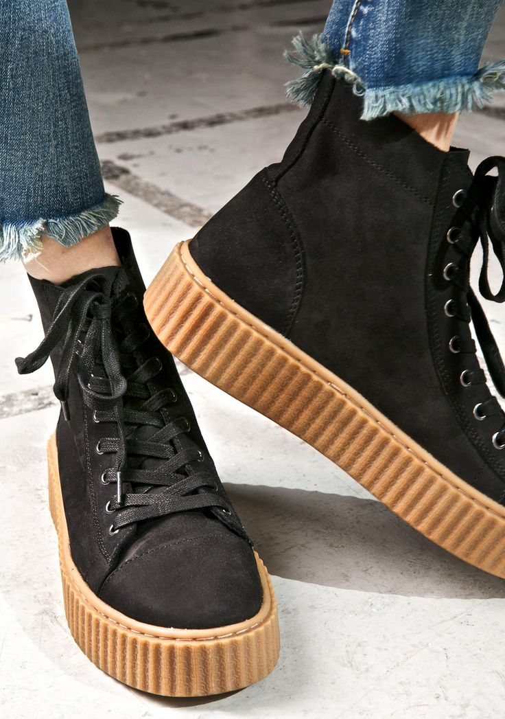J Slides Riva Creeper-Soled Sneakers are gunna elevate ya to icon status, babe. These sikk sneakers feature an ultra smooth 'N luxxx black genuine suede construction, high top style, rounded toe, thick 'N sturdy stitched rubber creeper sole, and full length lace-ups.