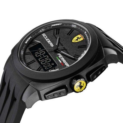 Scuderia Ferrari Aerodinamico Chronograph Watch Black NEW #ferrari #ferraristore  #scuderiaferrari #watch #collection #new #aerodinamico #cronograph #exclusive #prancinghorse #cavallinorampante #passion #carbon #digital #display #alarm #data #timezone #waterproof