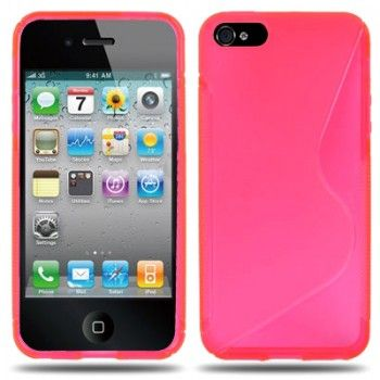 S-Shaped TPU Case for iPhone 5 - Magenta