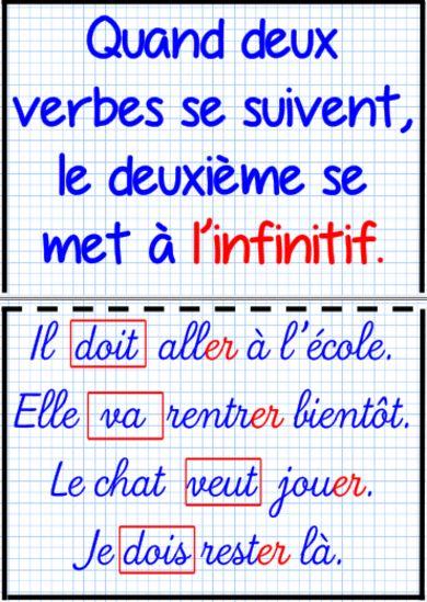 A l'encre violette — quand deux verbes se suivent le deuxième se met un infinitif #Violette #Grammes