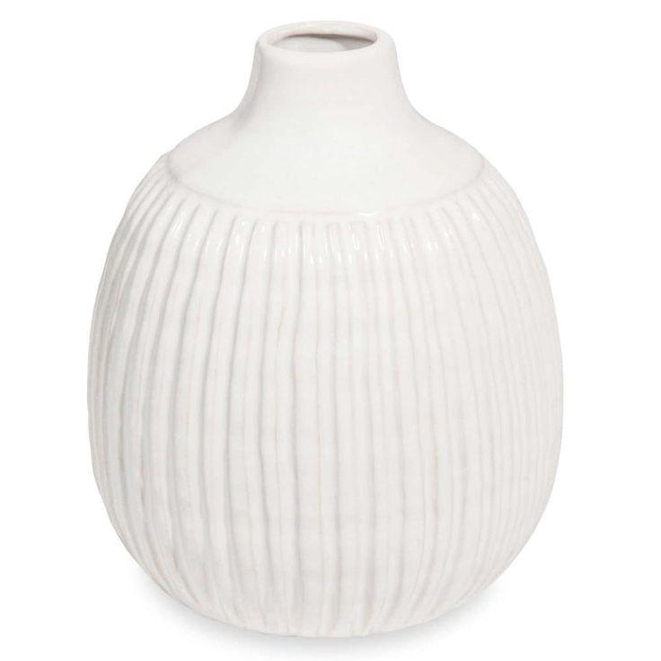Jarrón bola de cerámica blanca H.22 cm STRIES 19'95€ Maisons du Monde