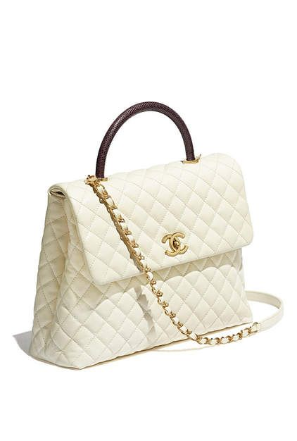 Flap bag with top handle, calfskin, lizard & gold-tone metal-ivory & burgundy - CHANEL