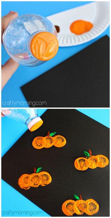 Make a pumpkin craft using a water bottle cap! #Halloween craft for kids to make #Fall | CraftyMorning.com