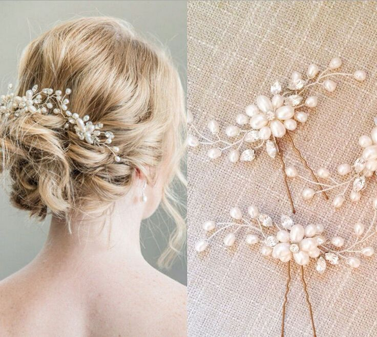 wedding party romantic handmade pearl flower hair pin hair stick hair accessories bride hair jewelry