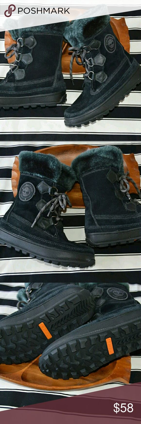 Timberland mukluks black suede fur boots 5.5M These boots lace up and have fur on top to keep you extra warm. Hardly worn. Timberland Shoes Lace Up Boots