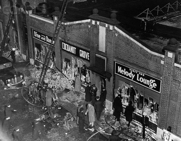 November 28, 1942. The greatest nightclub fire in U.S. history takes place at the Cocoanut Grove club in Boston killing at least 492.