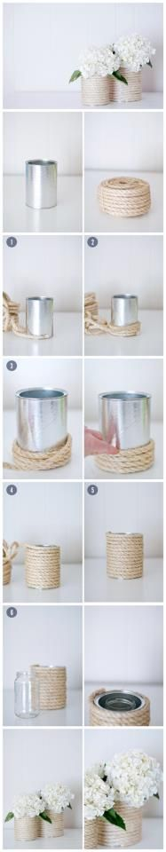 use old cans from soup, put anything around it, green and white rope, ribbon etc.