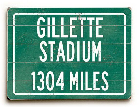Gillette Stadium wood sign Home of the New England Patriots  #walldecor #wallart #giftforhim #wallprint #streetsign #mansden #teenroom