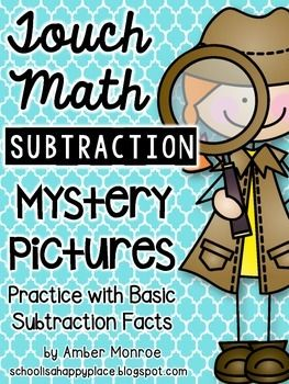 Touch Math Subtraction Mystery Pictures is a great way for students to practice basic subtraction facts (using touch point numbers) and number discrimination.This packet includes 10 equation pages, 10 mystery picture number grids, and 10 mystery picture answer keys.The mystery pictures are:1.