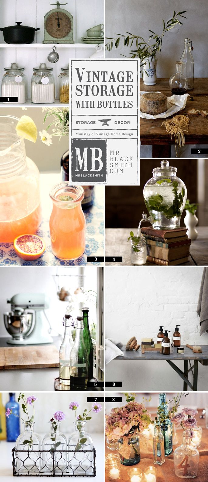 A simple guide to using vintage glass bottles and jars