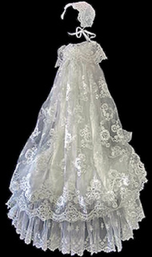 french lace with pearls and sequins christening gown