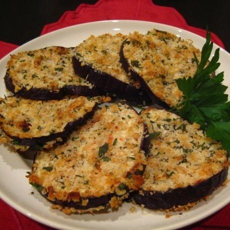Oven Fried Eggplant- these turned out super yummy! I did soak the eggplant slices in milk first (~1 hr) and reduced the heat to 400 degrees F and the time to 10 minutes for the second side (after 12 minutes the cheese was burning). Delicious!