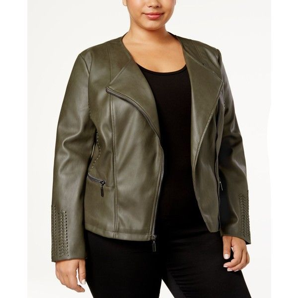 Alfani Plus Size Faux-Leather Moto Jacket, Created for Macy's ($130) ❤ liked on Polyvore featuring plus size women's fashion, plus size clothing, plus size outerwear, plus size jackets, autumn moss, women's plus size jackets, brown faux leather jacket, faux leather motorcycle jacket, plus size biker jacket and biker jacket