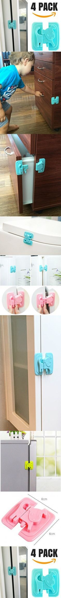 Katabird Baby Safety Cabinet Locks, 4 Count - Child Safety Latches Best for Baby Proofing Cabinets, Sliding Door, Fridge and Drawers - No Drill, Tools, Magnet Or Screws Needed