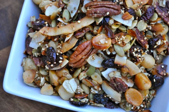 The Best Healthy Trail Mix recipe -- tons of spices = flavor w/ lots of nuts, seeds, cranberries, & coconut. Sounds like a delicious snack or even breakfast w/ fruit & yogurt!