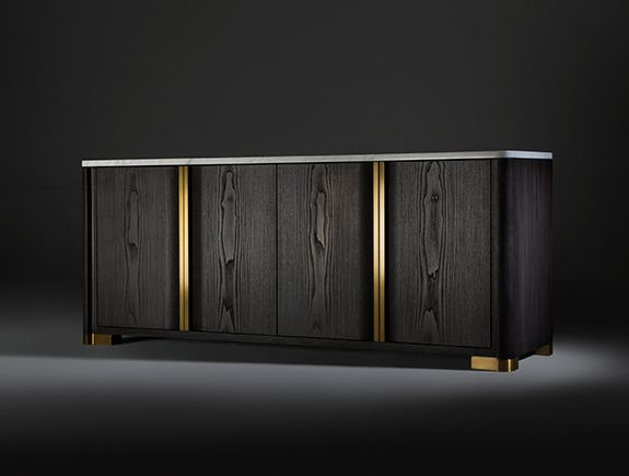 LUXURY BUFFET BY HOLLY HUNT| modern buffet brass and dark wood | For more buffets and cabinet ideas download the ebook:  https://www.buffetsandcabinets.com/100-modern-buffets-cabinets/?utm_source=BuffetsAndCabinets2016&utm_medium=BuffetsAndCabinetsEbook&utm_content=Header&utm_campaign=Ebook  #moderncabinets #luxurycabinets