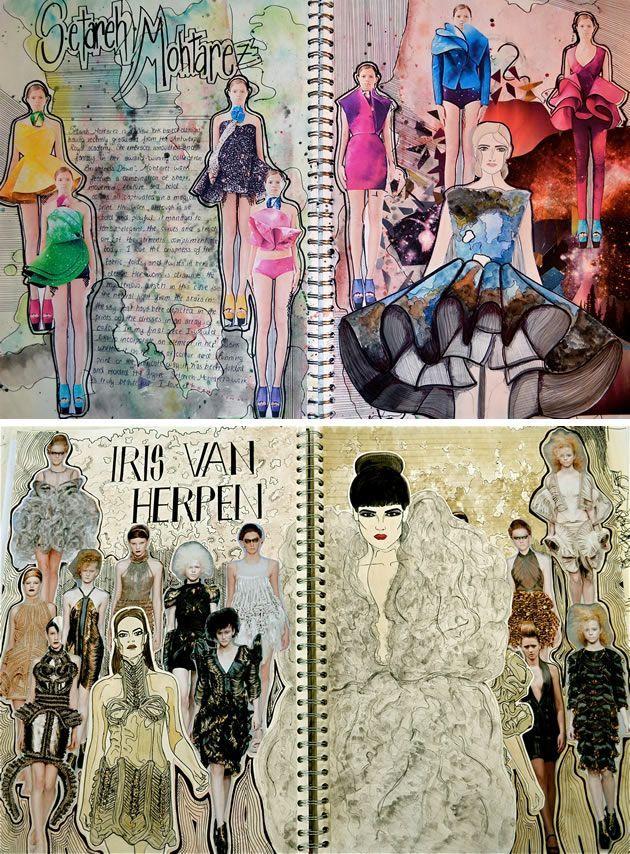 follow me @cushite These sketchbook pages are the unequivocal result of effort, passion and enthusiasm. Although 'decoration' is usually unnecessary within a textile or fashion design sketchbook, in this case, the background patterning demonstrates a complete understanding of the aesthetic; a strong personal response to the colours, shapes, textures, lines and forms of the work studied.