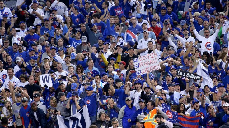 Cubs fans celebrate the Chicago Cubs winning the World Series against the Cleveland Indians on Nov. 3, 2016, at Progressive Field in Cleveland.