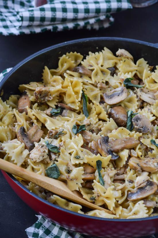 Chicken and Mushroom Pasta with Brown Butter Sage Sauce (maybe add a vegetable)