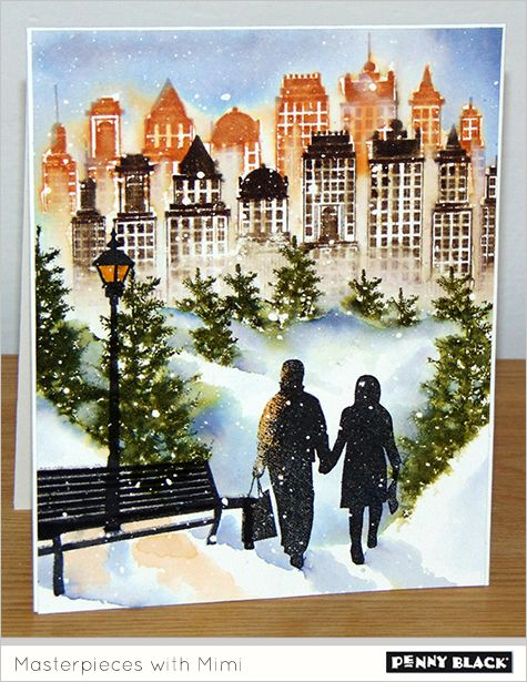 Penny Black's On The Town, Skyline & Prancers stamp sets combine to make this card by Mimi (with photo tutorial)