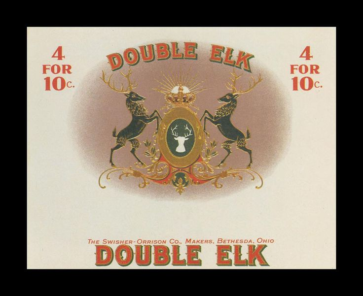 vintage cigar label | Double Elk - vintage cigar labels ...