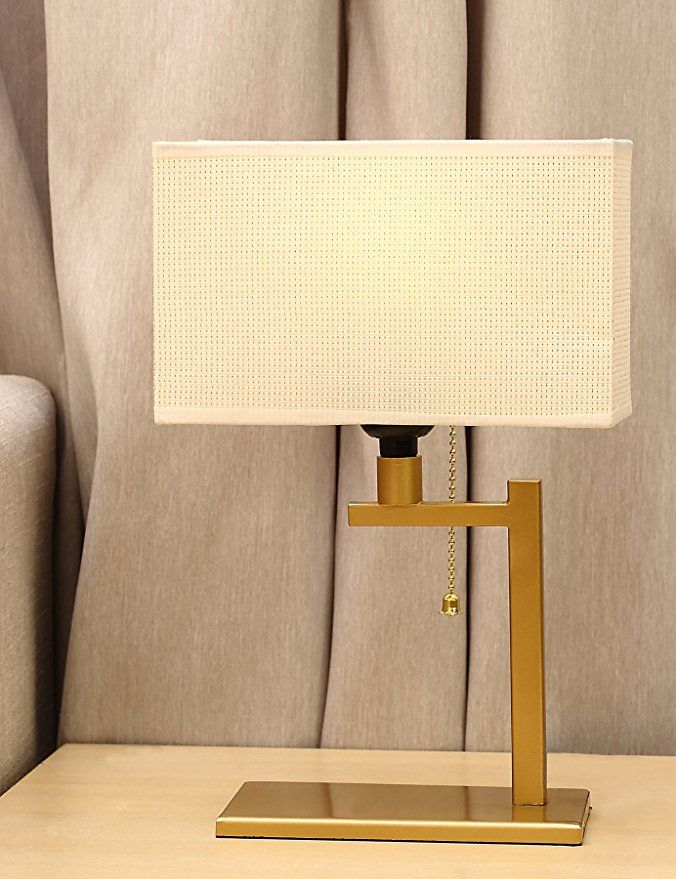 Wayking Table Lamp Modern Matt Brass Finish Metal Frame Bedside Lamp With Beige And Gold Fabric Shade Fabric Shades Lamp Table Lamp