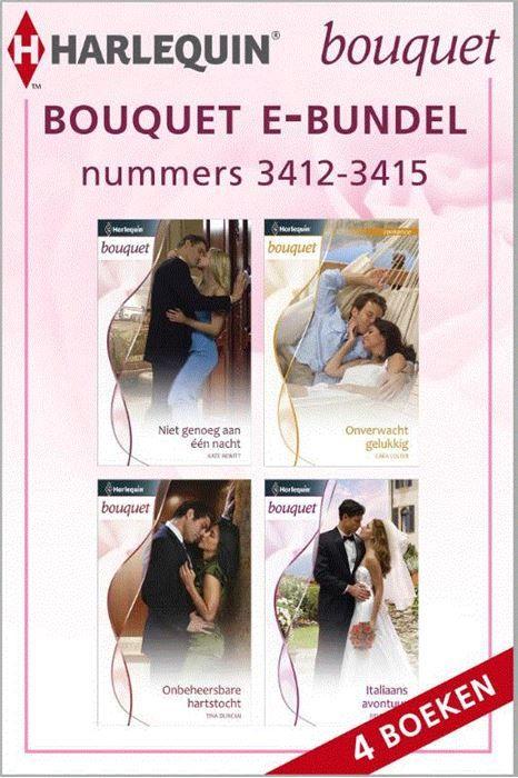 Bouquet e-bundel nummers 3412-3415 (4-in-1)  Kiest u voor gemak? Met deze bundel heeft u vier van de acht Bouquet-romans (nummers 3412 t/m 3415) van de maand in handen. Zo kunt u lekker doorlezen en nog gemakkelijker genieten van uw favoriete reeks! (1) NIET GENOEG AAN ÉÉN NACHT van KATE HEWITT - Ellery Dunant is wel de laatste die je op het verlanglijstje van casanova Larenz de Luca zou verwachten. Toch probeert hij haar over te halen tot één nacht vol passie (2) ONVERWACHT GELUKKIG van…