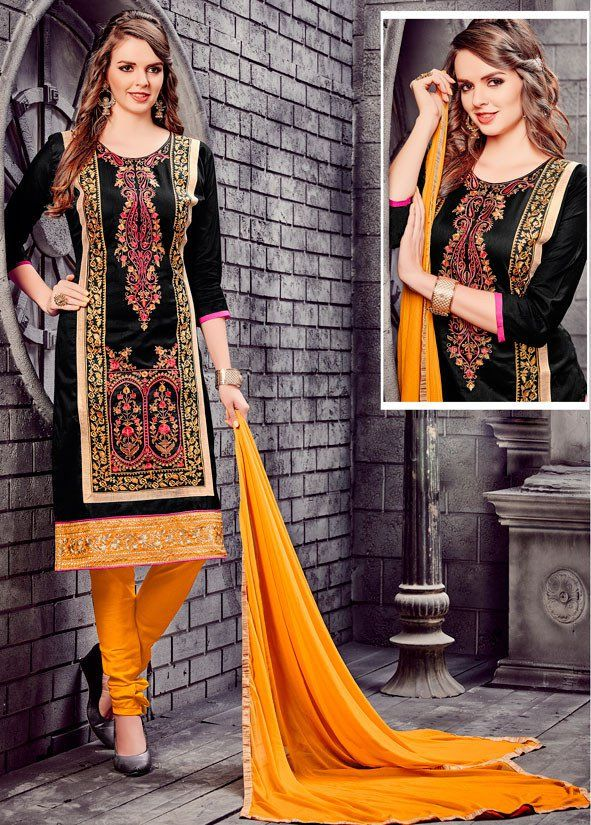 Black Cotton Churidar Kameez