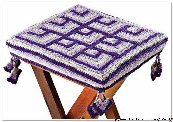 Delicadezas en crochet Gabriela: Reciclando sillas y bancos con fundas a crochet