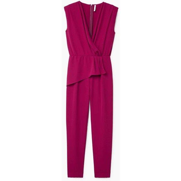 Wrap Neckline Jumpsuit (4.720 RUB) ❤ liked on Polyvore featuring jumpsuits, v neck jumpsuit, wrap jumpsuits, long jumpsuits, mango jumpsuit and purple jumpsuit
