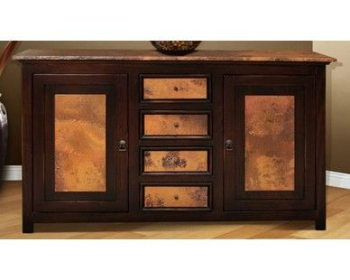 Rustic Accent Console   Hand Hammered Copper Top   Sam Levitz Furniture