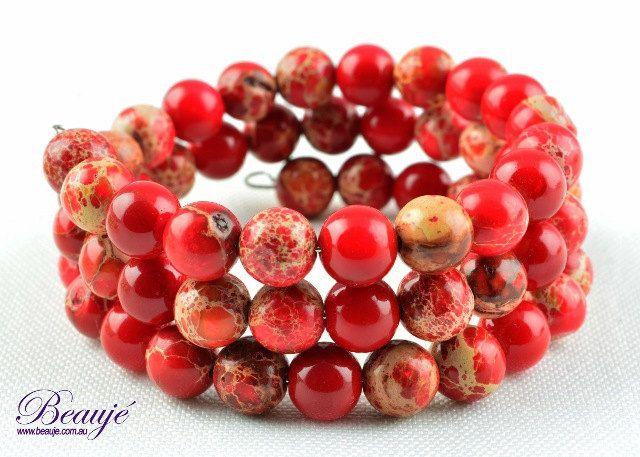 Red Bracelet Agate Bracelet Memory Wire Bracelet Wrap Bracelet Wire Bracelet Gemstone Jewellery by BeaujeJewellery on Etsy