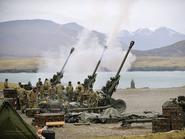 A battery of 29 Commando Regiment Royal Artillery fires 105mm Light Guns during Exercise Joint Warrior in Scotland.