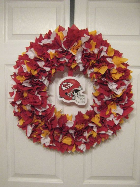 Hey, I found this really awesome Etsy listing at https://www.etsy.com/listing/99419103/nfl-18-kansas-city-chiefs-fabric-wreath