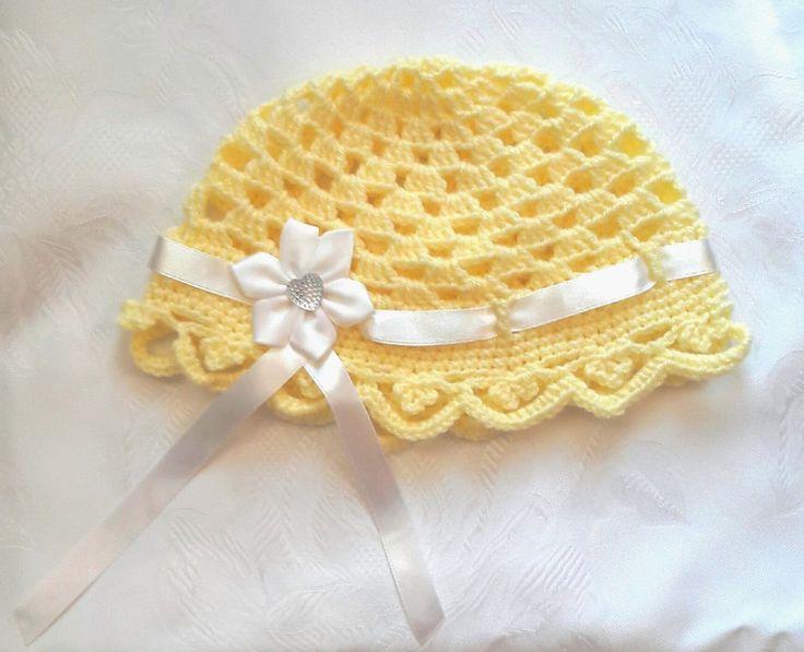 Żółta czapeczka dla dziewczynki - Fantazja-handmade - Czapeczki dla niemowląt