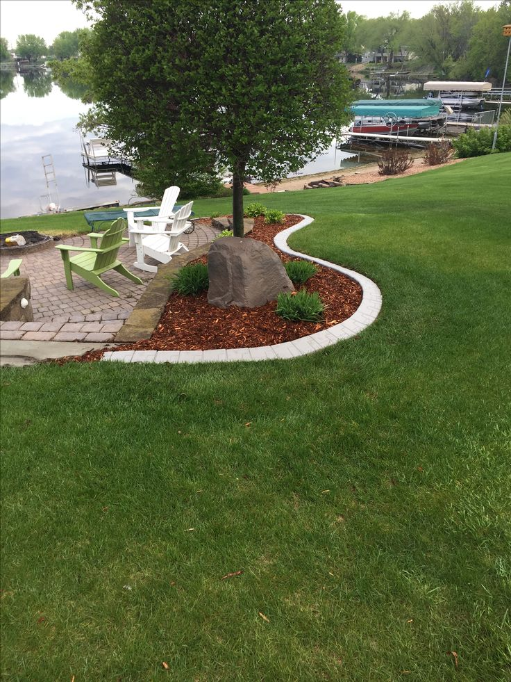 This faux concrete edging was created using master mark for Quik curb