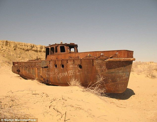 The eerie, rusting 50-year-old ghost ships which are the only reminder that this desert used to be a sea....
