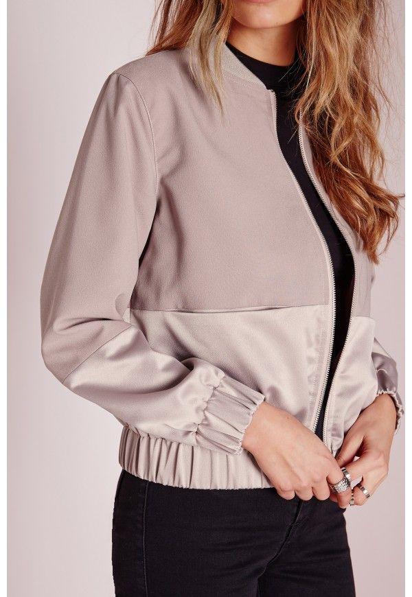 몸집이 작은 독점 새틴 두 톤 폭격기 재킷 자주색 - 키 - 키 큰 코트 & 자켓 - Missguided