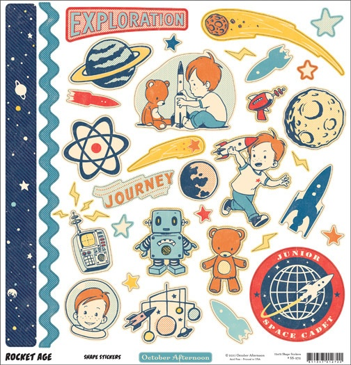 Rocket Age Chip 'n Stick Chipboard Stickers By October Afternoon
