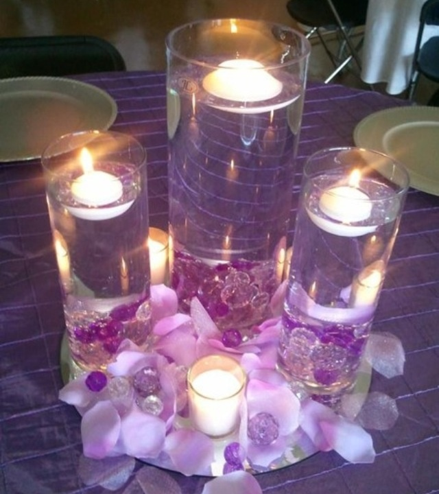 Floating Candles Centerpieces Ideas For Weddings: Purple Wedding Floating Candles In Vases
