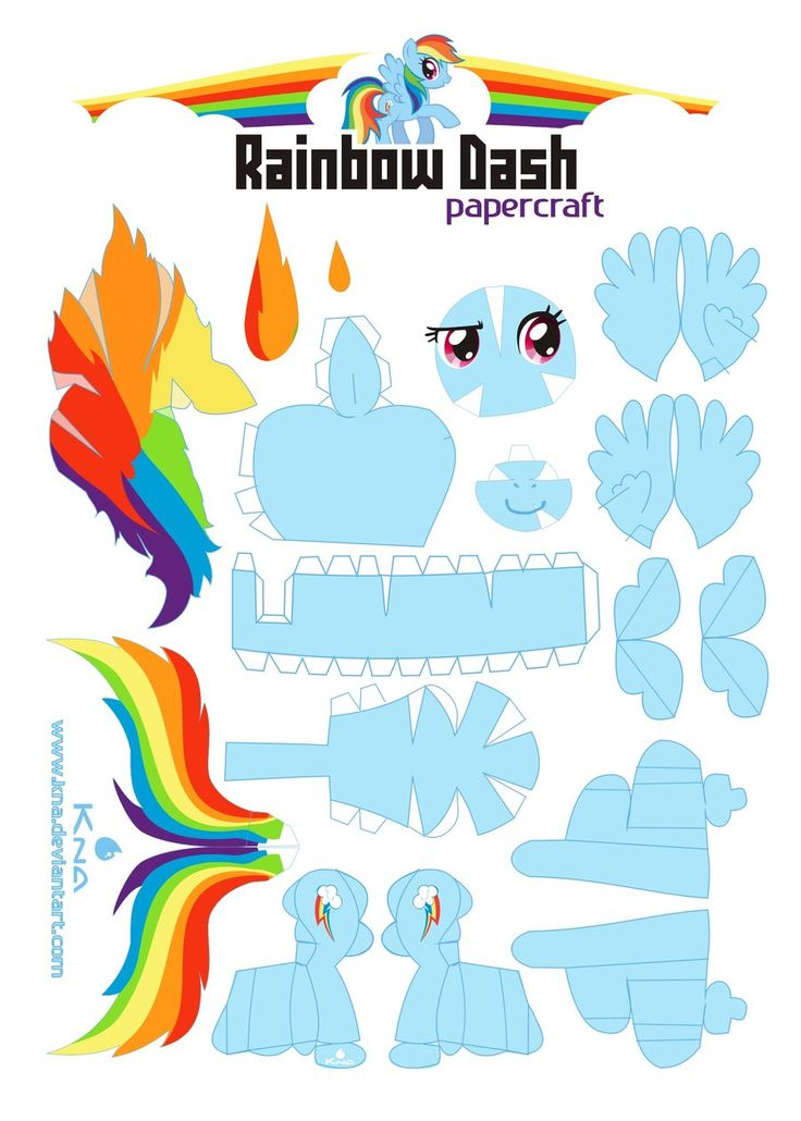 Rainbow Dash Papercraft by Kna.deviantart.com on @deviantART- she has all the 6 main characters. Great craft or favor for a party.