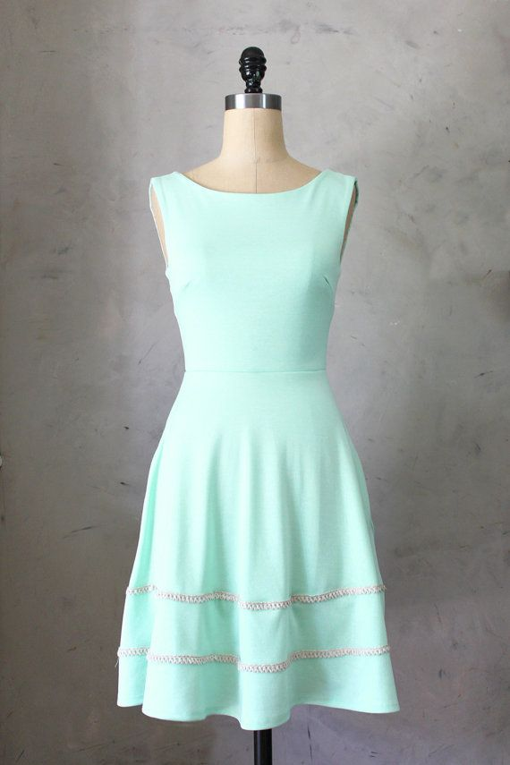 ideas for val: COQUETTE in MINT - Light mint green dress with pockets // flared circle skirt // ivory crochet // bridesmaid dress // vintage inspired